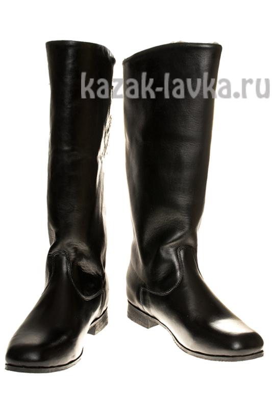 Сапоги зимние женские из натуральной хромовой кожи искусственной